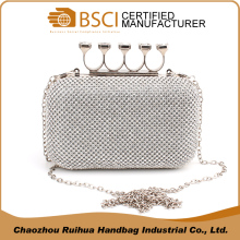 Popular design lady fashion metal mesh evening handbag hard case