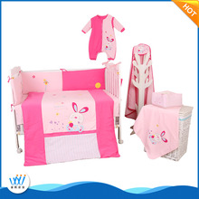 Hot selling comfortable high quality 100% cotton baby crib bedding set