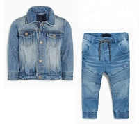 Royal wolf denim garment factory blue pull on kid's biker jogger pants and jacket baby clothes jeans set