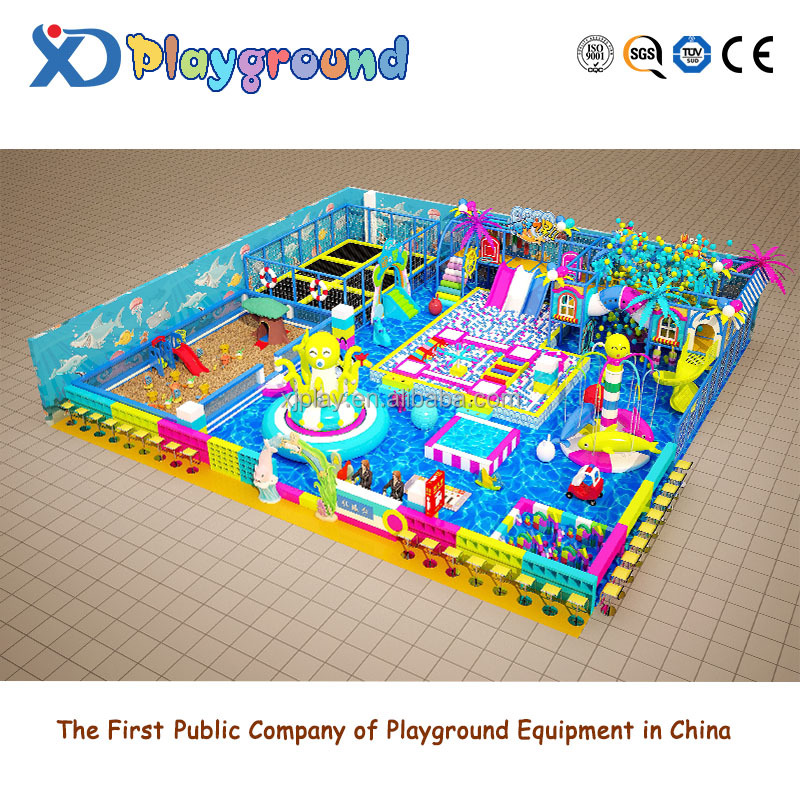 High quality commercial safety candy theme indoor playground with trampoline