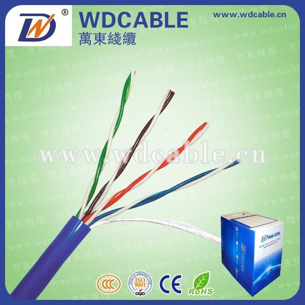 Fluke passed cable network cat5e cable For 1000ft 4 pair solid utp cat 5e cable , UL ISO CE FCC RoHS compliant