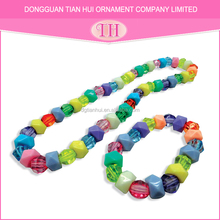 Hot fashion customized hot selling cheap polygon beaded necklace bracelet crystal jewelry set