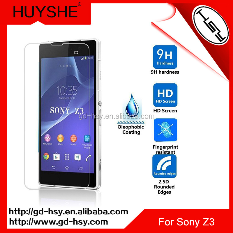 Shenzhen Mobile Phone Spare Parts For Sony Xperia Z3 Screen Saver Protective Film 0.3mm 9H Tempered Glass Screen Protector
