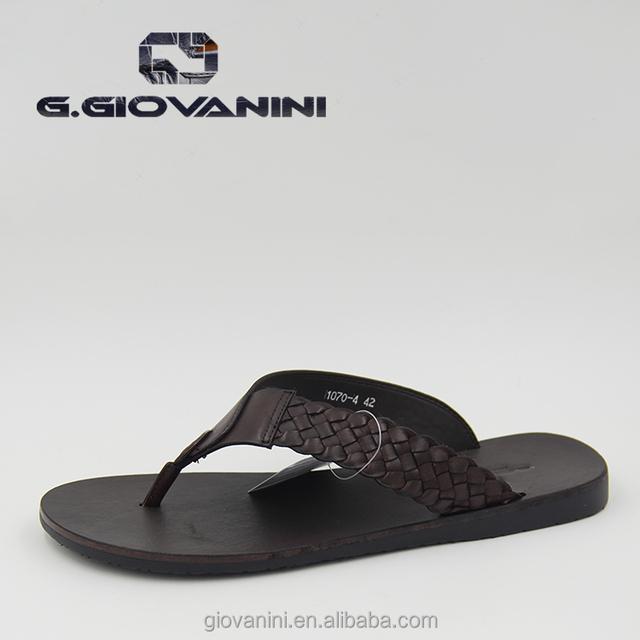 Coffee Leather Fashion beach slipper men italian style china wholesale slipper