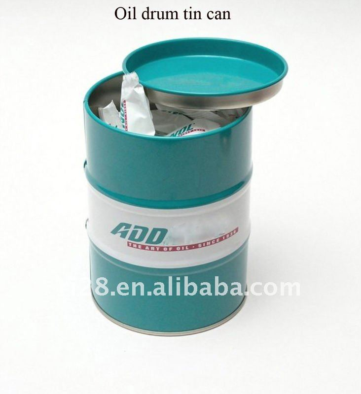 Oil drum shape tin box
