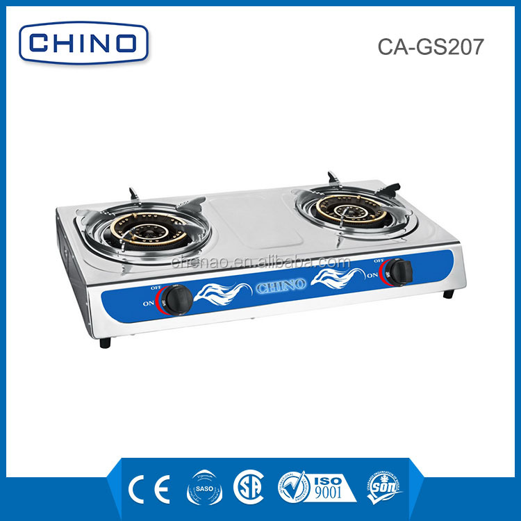 0.4mm thickness double burner stainless steel gas stove big fire