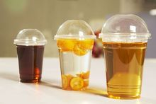 clear crystal PET cup designed ice cream cup frozen coffee cup with lid