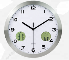 Hot sale decorative metal digital wall clock with temperature and humidity