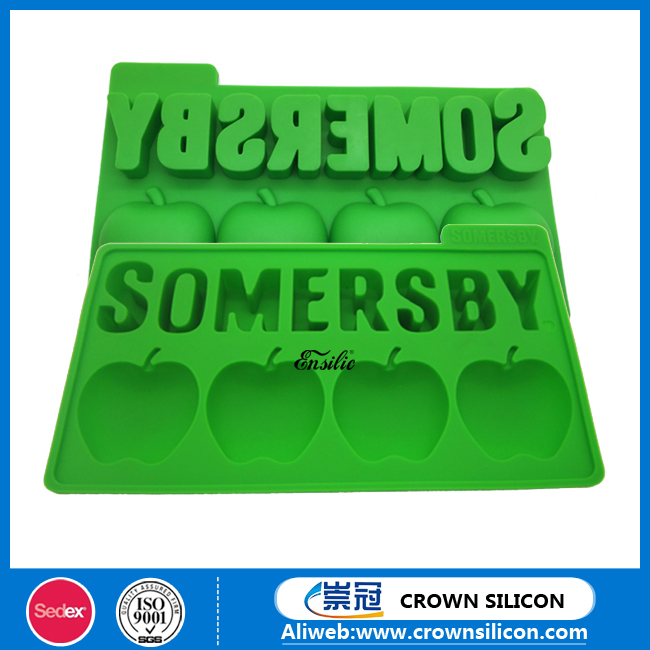 2016 Hot Selling New Design Food Grade silicone Apple Shape Ice Cube Tray