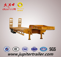 Straight Frame 80 Tons Lowbed Semi Trailer with 3 Axles