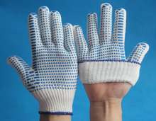 Natural white cotton gloves coated with pvc dots on palm white cotton hand gloves cotton knitted gloves