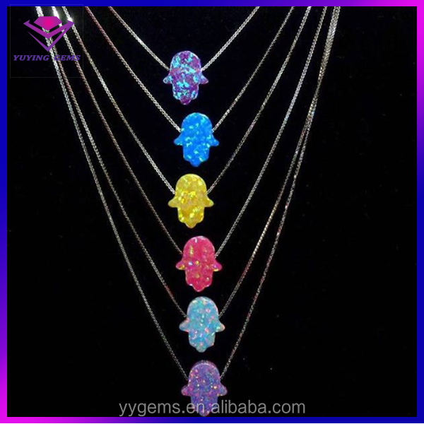 Price of Synthetic Opal 8x10mm Hamsa Opal Lobster Clasp Jewelry for Lady