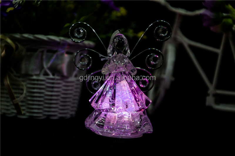 Dongguan acrylic LED christmas angel with iron wings decor
