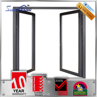 Australia standard double glazed soundproof aluminum double swing 2 way swing door