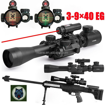 Spike Tactical Rifle scope C3-9x40 with Red Laser & Red Dot Sight Red Dot Scope, Dual Illuminated Rifle Scope