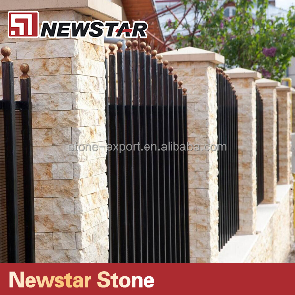 Yellow Marble Split Face Wall Tiles Sunny Yellow Stacked Stone Marble