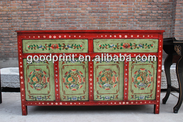Antique Tibet painted style antique furniture cabinet , Antique Furniture