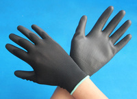 black PU coated nylon working gloves industrial gloves