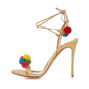 2016 trend style colorful fur ball strap heel sandal women summer sandal