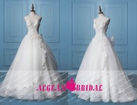 KE642 New Real Sample organza white wedding dresses ball gown with appliqued and beading&crystal,bow belt 2015