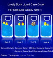 Dynamic Liquid Floating Duck Clear Back Case Cover For Samsung Galaxy Note 4