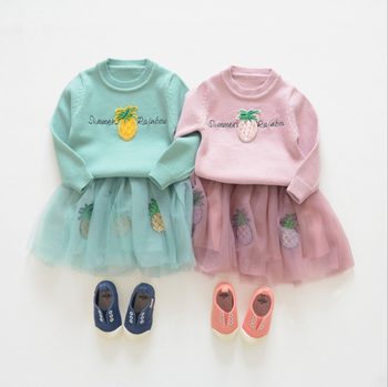 New girl knitted sweater pineapple appliqued gauze skirt set dresses fall matching clothes