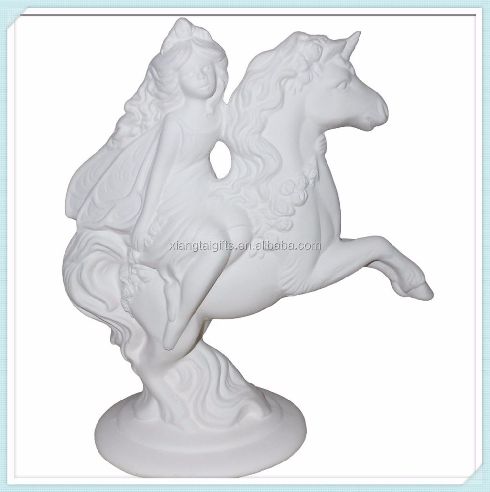 Ella The Fairy And Her Unicorn - Stunning Detail - unpainted Mythical Ceramic Keepsake bisque