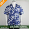 Blue wholesale cotton print mens beach wear shirts hawaiian shirt