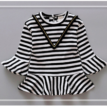 2017 new autumn girl long sleeve cute striped speaker skirt baby cotton frocks designs kids clothing for 1-3 years old
