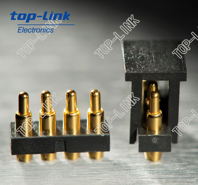 pogo pin connector with low profile, fine pitch, heavy-loaded current and high durability