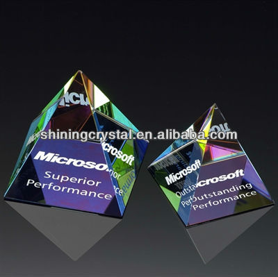 Prism Crystal Glass Pyramid Paperweight