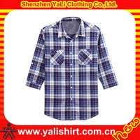 OEM hot sale high quality casaul two pockets plaid slim mens long sleeve hawaiian shirts