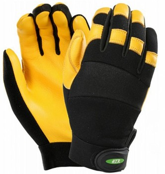 HTR Breathable Goat Leather Mechanical Safety Work Gloves with Great Comfort