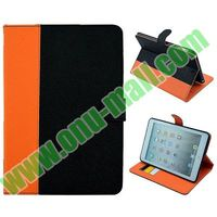 Cross Texture Double Color Max Pattern Smart Cover Leather Case For Ipad Mini 2
