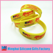Ghana accra debossed color filled in wristband/port business holiday promotional gift graceful silicon wristband