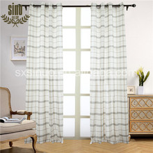 100% Polyester Yarn Dyed Plaid voile with loop curtain