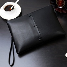 One zipper capacity brown leather men's clutches wallet bag