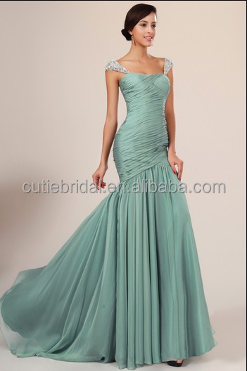 China Supplier Wholesale Cheap High Quality green Mermaid cap sleeve Backless Beaded Sexy Prom Dress Evening Dresses Online Shop