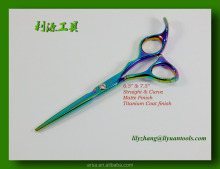 Titanium Coating shears Convex edge Stainless Steel Professional Hair scissors more colors choose