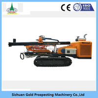 Portable rock drilling machine/ crawler hydraulic rotarydrilling rig integrated type with cap and air