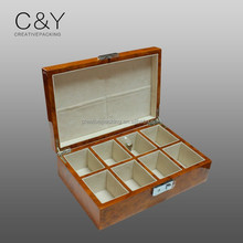Highly luxury gloss finish storage burl wood 8 slot watch box