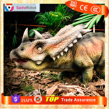 Amusement park Handmade Interactive walking realistic lively Triceratops robot dinosaurs for sale