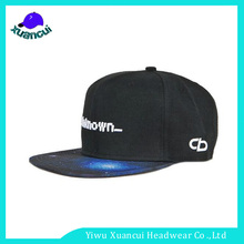 Galaxy Printting Brim Simple Snapback Hat Comfortable Embroidery fitted cheap Two tone snapback cap