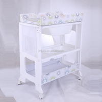 PP material plastic baby changing table with bathtub/folding plastic frame with CH baby brand OEM service/ foldable baby bathtub