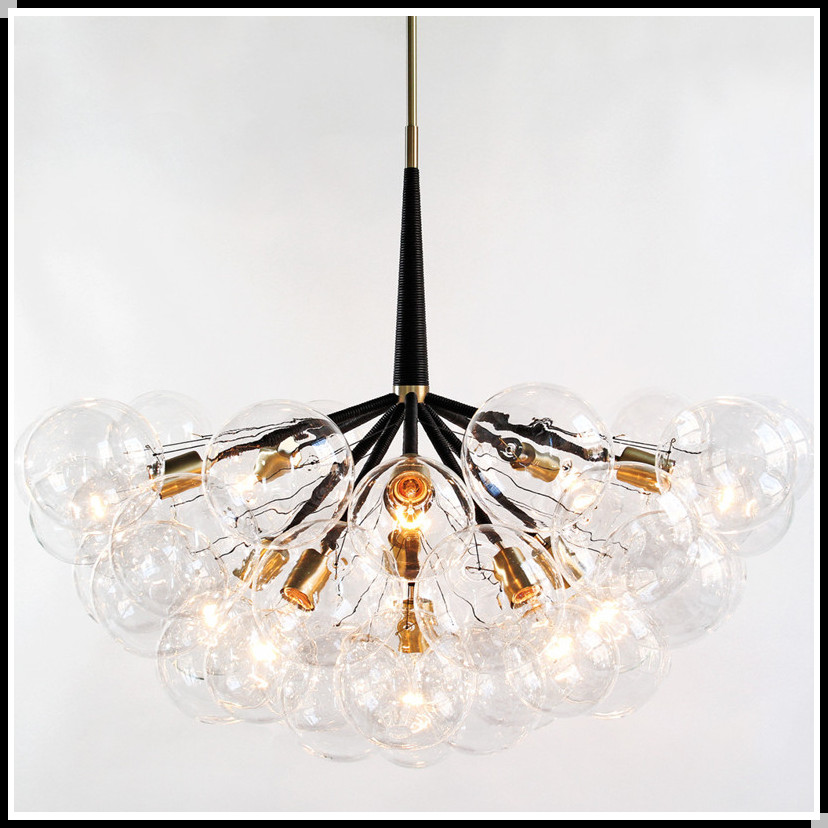 modern simple glass ball jumbo bubble chandelier gold color suspended light