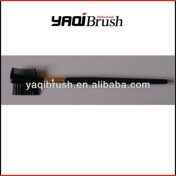 Professional eyebrow comb and brush with black handle