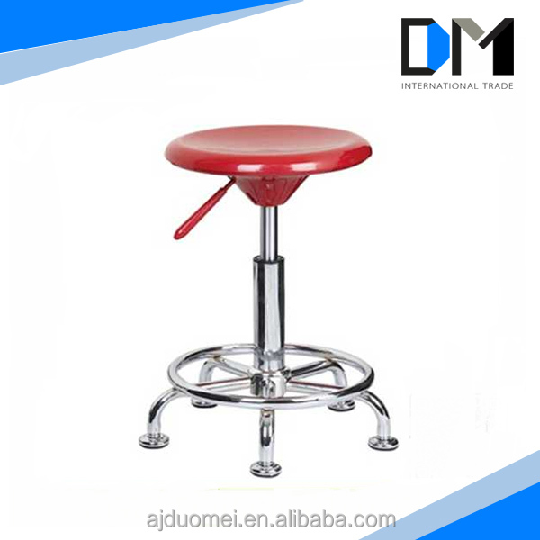 Factory Direct Sale Red Adjustable ABS Bar Stools with Wheels