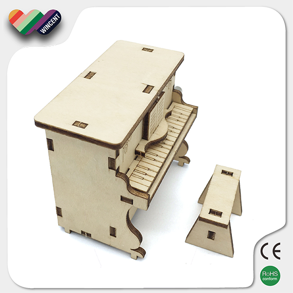 Piano Shape Wooden Puzzle Music Box