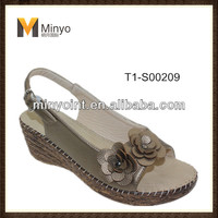 Minyo 2014 latest design comfortable lady wedge heel sandals with flowers