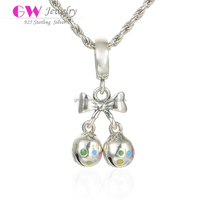 Hot Selling Newest Design Silver Tinkle Bell Charm With Colorful Enamel